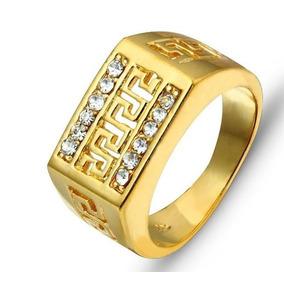 Anel Masculino Aro 22 Banhado Em Ouro Com Cristais - J1439g