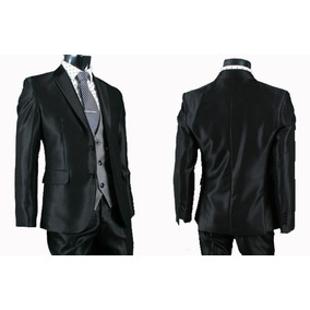 Terno Acetinado Brilhoso Com Colete +camisa + Gravata