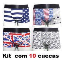 Kit 10 Peças Cuecas Boxe Estampadas Marcas Importadas Box