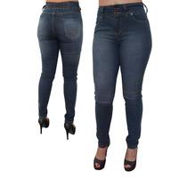 Calça Feminina Jeans Justinha Cintura Alta Elástico Atrás