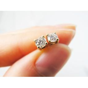 Belo Par De Brincos Em Ouro Amarelo 18k! 0,30cts De Diamante