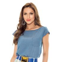 Blusa Jeans Abertura Costas Titanium Modelagem Manga Curta