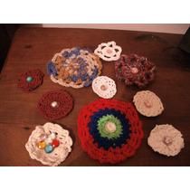 Lote 10 Apliques A Crochet Para Ropa, Vinchas,....