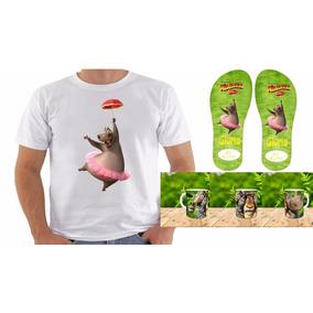 Kit Madagascar - Camiseta Chinelo E Caneca