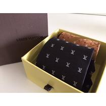 Kit Com Duas Gravatas Louis Vuitton 100% Seda Na Caixa
