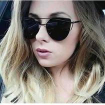 Óculos De Sol Espelhado Fit Gatinho Cat Eye Metal Di Or