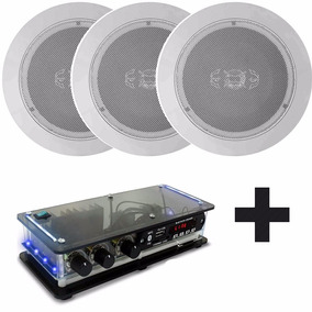 Som Ambiente 3 Arandelas Redondas 55w Gesso+ Amplificador Bt