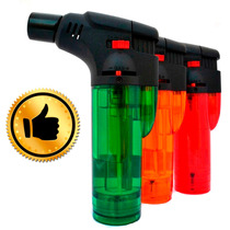 Encendedor Soplete Colores Acrílico Recargable Gas Butano -