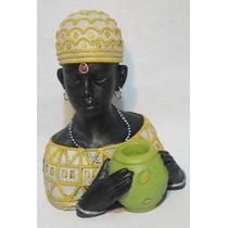 Figura Africana Hombre Con Vasija Yeso Pintado 20 Cm Alto