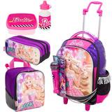 Kit Mochila Lancheira Infantil Barbie Rock Sestini