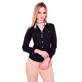 Camisa Social Feminina Slim Com Detalhes Flores Promoção