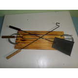 Set Tabla De Asado +accesorio Parrillero Pala,atiza .pinche