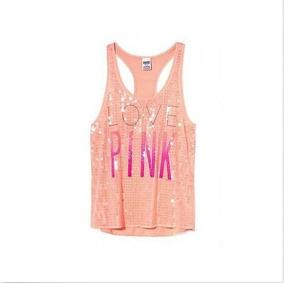 Victoria´s Secret Remera Musculosa Pink Lentejuelas