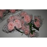 Ramo De Flores Rosas De Goma Eva Con Tul