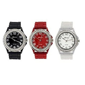 Geneva Platinum Banda De Silicona Cz Juego De Reloj (negro