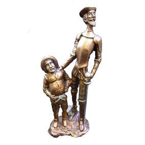 Escultura Figura Quijote Con Sancho, Apariencia Bronce 2443