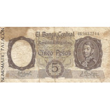 Billete 5 Pesos Moneda Nacional Fabregas Delfino Bot 1924