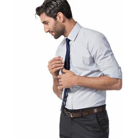 Camisa De Vestir Rayada Cuello Italiano Manga Larga Devré