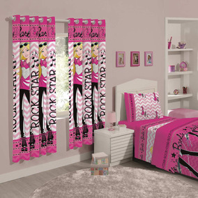 Cortina Infantil Decorativa Barbie 1,80x2,00m Santista