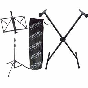 Pedestal Suporte P/ Teclado Musical + Estante De Partituras