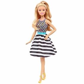 Boneca Barbie Fashionista Vestido Geométrico 46 Mattel Fbr37