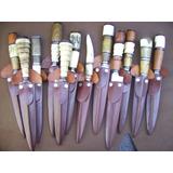 4 Cuchillos Tandil Artesanal 14 Cm.c/vaina Cuero