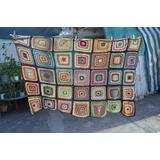 Manta Frazada Cobija Tejida Crochet 1 Plaza Usada Envio
