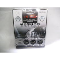 Toma 12 Volts Triple +usb + Autos Motos Atv Nautica + Socket