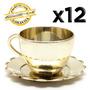 12 Mini Xícaras Douradas Pires Lembrancinha Festa Decoração
