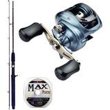 Kit Marine Sports Carretilha Titan Gto 6000 + Vara + Linha