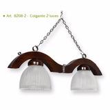 Lámpara Colgante De 2 Luces De Madera Con Detalles En Platil