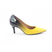 Sapato Scapins Vizzano Feminino Preto Amarelo Lançamento