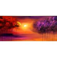 Quadro Pintura Tela Abstrato Paisagem Árvores Floresta