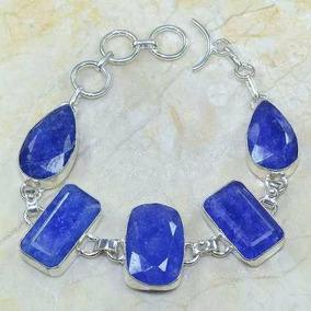 Pulseira Pedras Naturais Safiras Azuis Prata 925 Festa