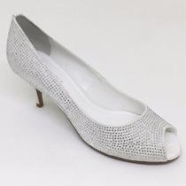 Sapato Noiva Couro Cetim Branco Strass Salto Baixo
