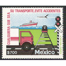 1991 México Evite Accidentes Sello Mnh Barco Avión Tren