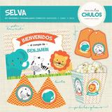Kit Imprimible Selva Animales Bebes Personalizado Primer Año