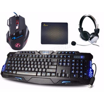 Kit Gamer Teclado 3 Led + Mouse 2400 Dpi Led + Fone Headset