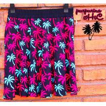 Falda Pollera Mujer Palmeras Tropical Verano Sexy Tela