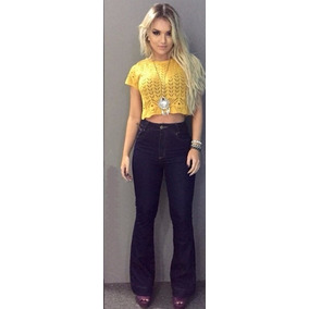 Calça Jeans Flare Top Cós Alto Colada Roupa Feminina Strach