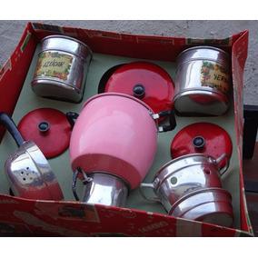 Antiguo Gran Juego Vajilla Cocina P Niñas Compl. Caja 50cm