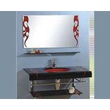 Mueble De Baño Mesada Vidrio Negra Pileta Roja Estante 51232