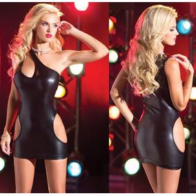 Mini Vestido Negro Metálico Pole Table Dance Stripper Fiesta
