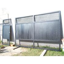 Portón Corredizo En Malla Y Chapa Lisa 5660