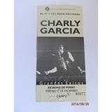 Antigua Entrada Recital Charly Garcia En Ferro Año 1993
