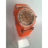 Reloj Geneva Naranja Piedras Brillantes Excelente Oferta