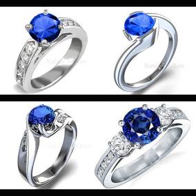 Anillo De Compromiso Oro 14k Con Zafiro Natural Y Diamantes