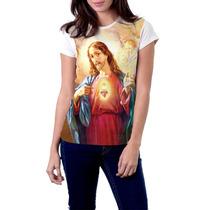 Camiseta Babylook Sagrado Coração De Jesus Religiosa Católic