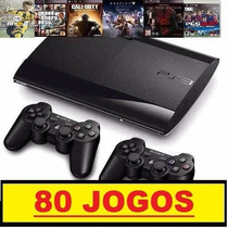Ps3 Super Slim 500 Gb+ 80 Jogos Originais+2 Controles+ Pes17