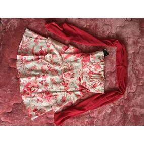 Vestido Estampado Branco/rosa. Babados. P. Crepe. R$ 90,00